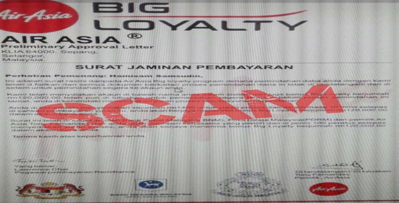 Laman sesawang palsu guna jenama AirAsia