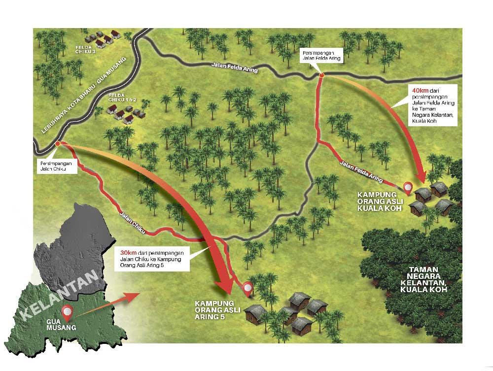 peta perkampungan orang asli.