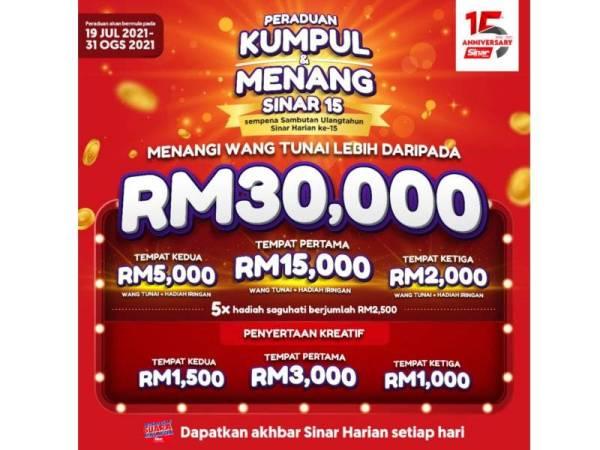 Rebut hadiah RM30,000 sempena 15 tahun Sinar Harian